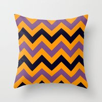 Halloween Chevron Throw Pillow