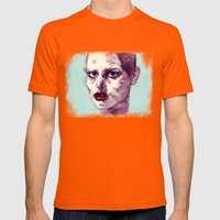 Scary Dirty Face With Re… Mens Fitted Tee Orange SMALL