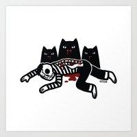 Cat Feast Art Print