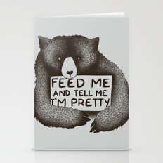 Feed Me And Tell Me I'm Pretty Bear Stationery Cards