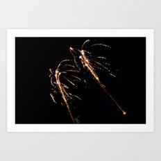 Jets of Fireworks Art Print