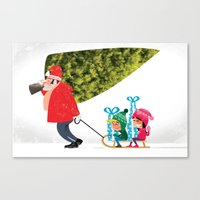 Buying The Christmas Tre… Canvas Print