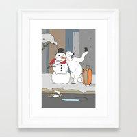 Selfie - Polar Bear and Snowman Framed Art Print