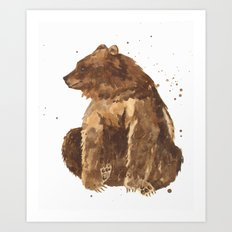 Bear, brown bear, guy art, man cave, woodsman, forestry lover, wild thing, daniel boone person Art Print