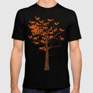 Blazing Fox Tree Mens Fitted Tee Black SMALL