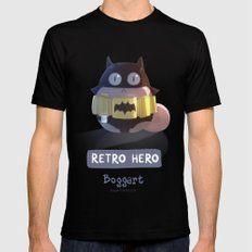 Retro Hero Black Mens Fitted Tee SMALL