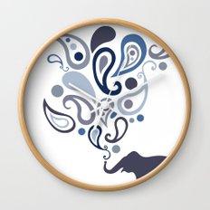 Multi-Blue Paisley Elephant Pattern Design Wall Clock