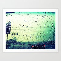 Waiting In Rain Art Print