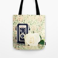 Old Camera And White Ros… Tote Bag