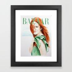 Harper's Bazaar Magazine Cover. Julianne Moore. Fashion Illustration Framed Art Print