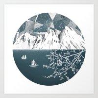 Mountain Print , Navy Bl… Art Print