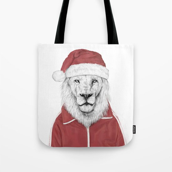 Santa lion Tote Bag