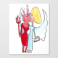 Angel/devil lesbian kiss Canvas Print