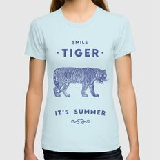 Smile Tiger, it's Summer Womens Fitted Tee Light Blue SMALL