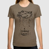Abstract Whimsical illustration, Rain, cloud, umbrella, Black and white, pen and ink Womens Fitted Tee Tri-Coffee SMALL