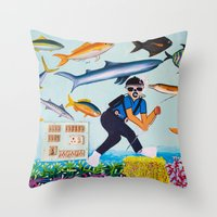 Deep Sea Fishing Throw Pillow