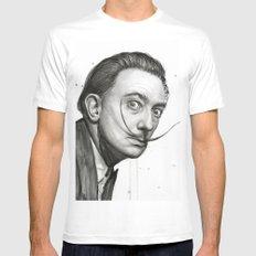Salvador Dali Watercolor Portrait SMALL Mens Fitted Tee White