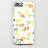 iPhone & iPod Case featuring Pineapple, Summer, Yellow and Green by Debbie Wibowo