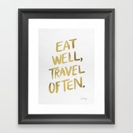 Framed Art Print featuring Eat Well Travel Often On… by Cat Coquillette