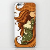 Girl and white cat iPhone & iPod Skin