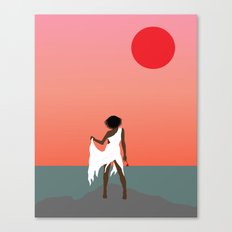 Aboriginal Girl and Rose Canvas Print