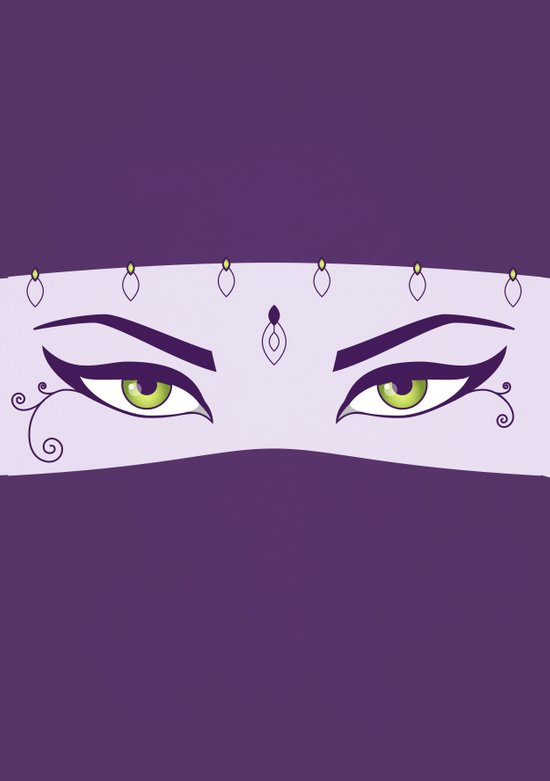 Oriental Dancer In Purple With Green Eyes Art Print
