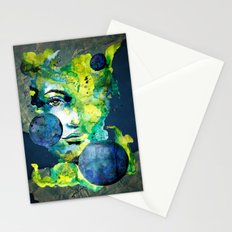Evelin Green (Set) by carographic watercolor portrait Stationery Cards