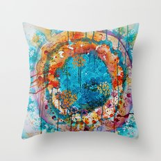 dripping mandala Throw Pillow