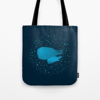 GLOW IN THE DARK WHALES Tote Bag