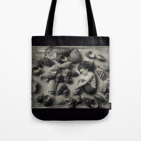 The Collection - A tiny girl, sleeping among seashells. Tote Bag