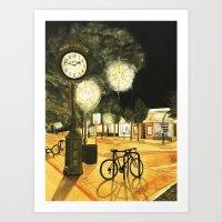 Town Clock Art Print