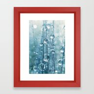 Blue Grass Drops II Framed Art Print