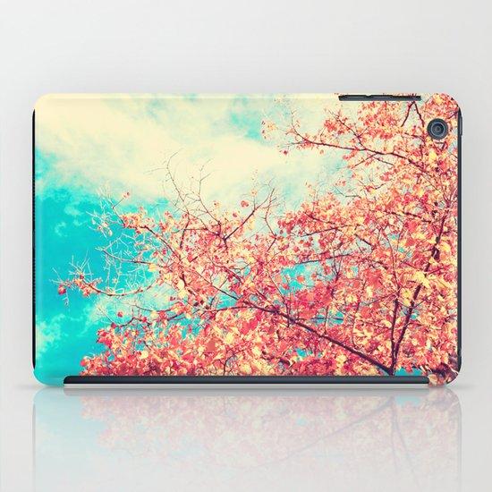 Deep Beauty (Fall pink tree leafs on retro blue sky) iPad Case