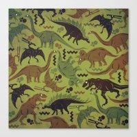 Camouflage Dinosaur Geometric Pattern Canvas Print