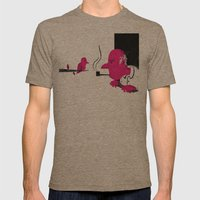 Bird and Man Mens Fitted Tee Tri-Coffee SMALL