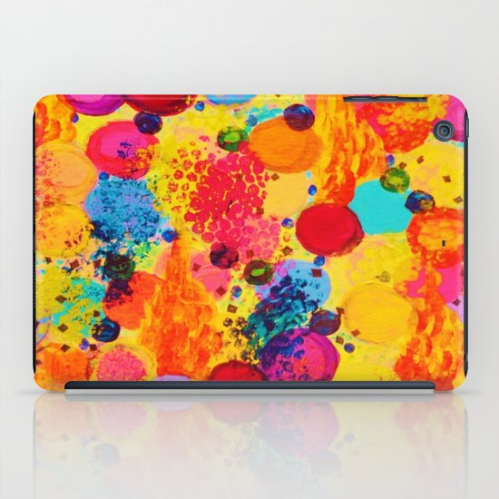 TIME FOR BUBBLY 2 - Fun Fiery Orange Red Whimsical Bubbles Bright Colorful Abstract Acrylic Painting iPad Case