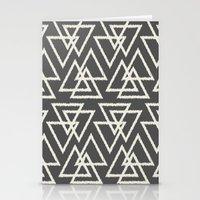 Trilogy Triangles-Dark Gray & Cream Stationery Cards
