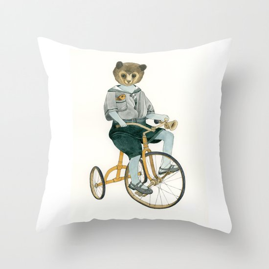 Bear on a Tricycle Throw Pillow