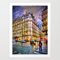 Rainy Evening In Paris, … Art Print