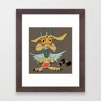 Evil Flying Feline Jackalope  Framed Art Print