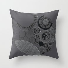 Abstract Geode Doodle Design in Charcoal Throw Pillow