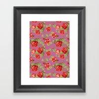Rose Pattern- Pink Framed Art Print