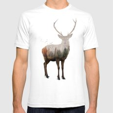 Red Deer SMALL White Mens Fitted Tee