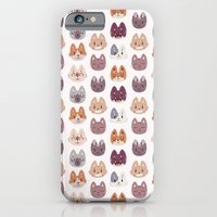 iPhone & iPod Case featuring Cute Kitty Cat Faces Pattern by Claire Stamper
