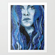 Of Water - Monochromatic Mosaic Art Print
