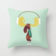 This moose is ready for winter Throw Pillow