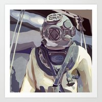 Navy Diver- Square Art Print