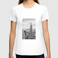 New York Skyline Womens Fitted Tee White SMALL