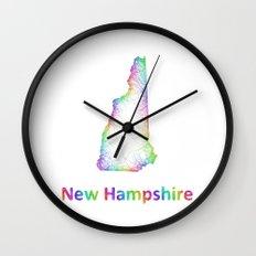 Rainbow New Hampshire map Wall Clock