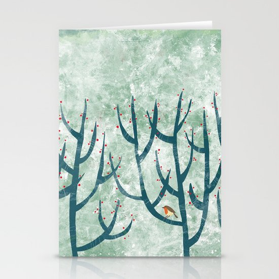 Cold Hedgerow Stationery Card